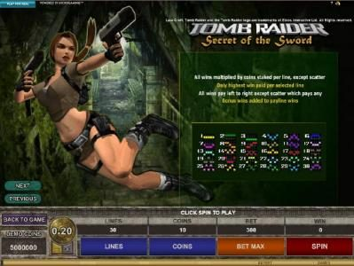 Wild Jackpots featuring the Video Slots Tomb Raider Secret of the Sword with a maximum payout of $15,000