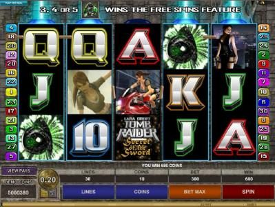Cinema featuring the Video Slots Tomb Raider Secret of the Sword with a maximum payout of $15,000