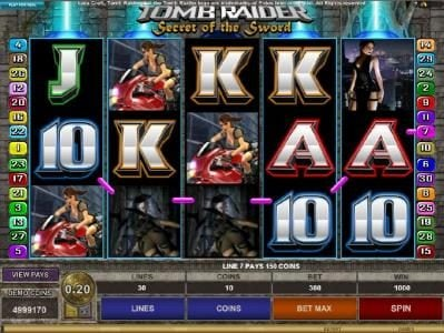 Rose Slots featuring the Video Slots Tomb Raider Secret of the Sword with a maximum payout of $15,000