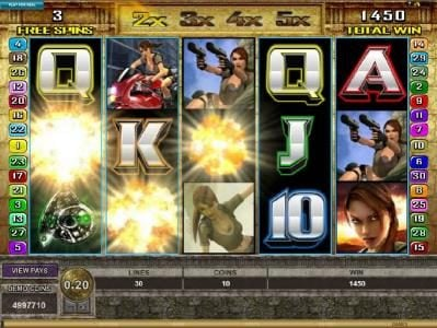 Jackpot City featuring the Video Slots Tomb Raider Secret of the Sword with a maximum payout of $15,000