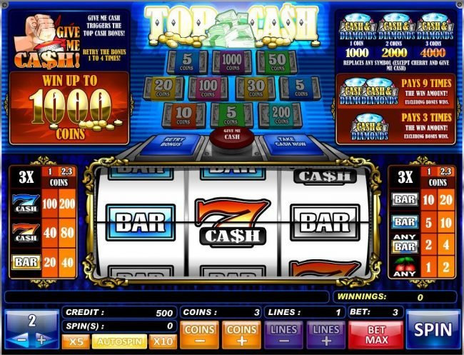 Play slots at King Billy: King Billy featuring the Video Slots Top Cash with a maximum payout of $20,000