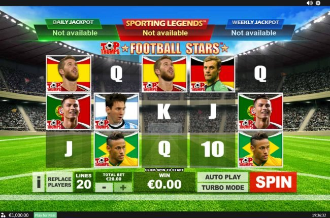 Play slots at Casino.com: Casino.com featuring the Video Slots Top Trumps Football Stars Sporting Legends with a maximum payout of $10,000
