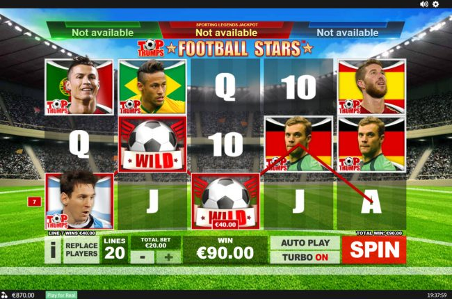 Casino Lucky Win featuring the Video Slots Top Trumps Football Stars Sporting Legends with a maximum payout of $10,000