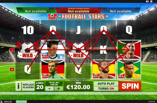 William Hill Casino Club featuring the Video Slots Top Trumps Football Stars Sporting Legends with a maximum payout of $10,000