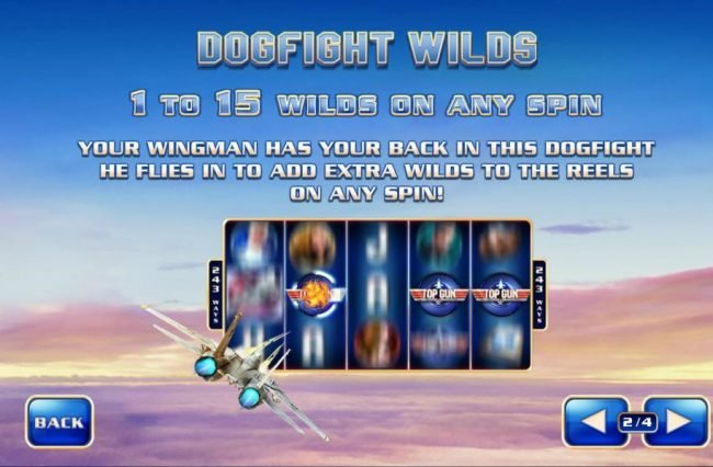 Dogfight Wilds - 1- to 15 wilds on any spin. Your wingman has your back in this dogfight heflies in to add extra wilds to the reels on any spin!