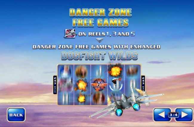 Danger Zone Free Games - F-14 Tomcat on reels 1, 3 and 5 awards Danger Zone Free Games with enhanced dogfight wilds.