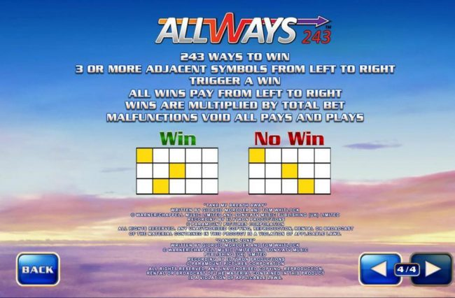 Allways 243 - 243 ways to win 3 or more adjacent symbols from left to right trigger a win. All wins pay from left to right. Wins are multiplied by total bet.