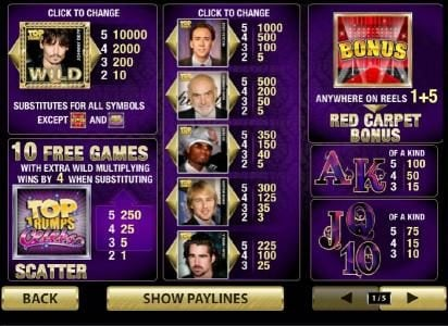 Club Vulkan featuring the Video Slots Top Trumps Celebs with a maximum payout of $100,000