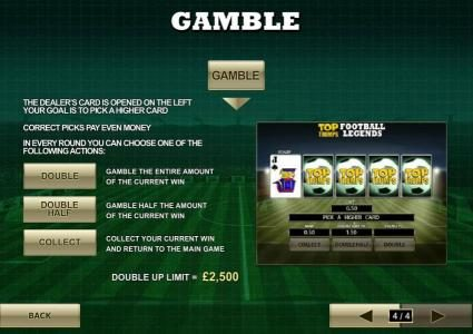 gamble feature is available after each winning spin for a chance to double your winnings