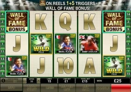 wall of fame bonus triggered on reels one and five
