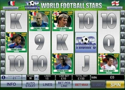 Money Storm featuring the Video Slots Top Trumps World Football Stars with a maximum payout of $500,000