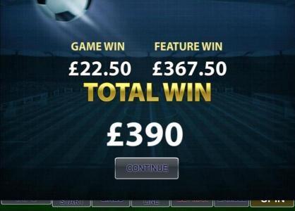 free games recap total win was 390 credits