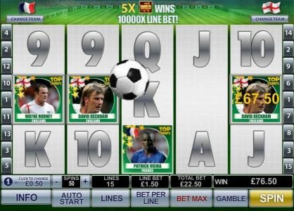 the soccer ball bounces around the game board and switches players to big money winners