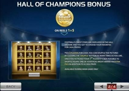 Hall of Champions Bonus is triggered by gold soccer ball coin on reels 1 and 5