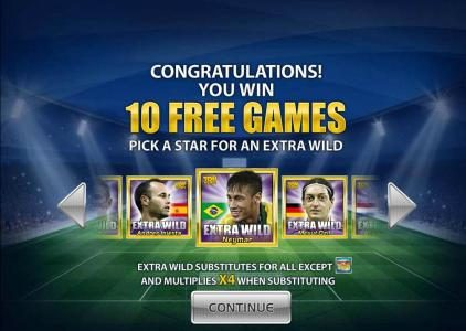10 free games awarded. Pick a star for an extra wild
