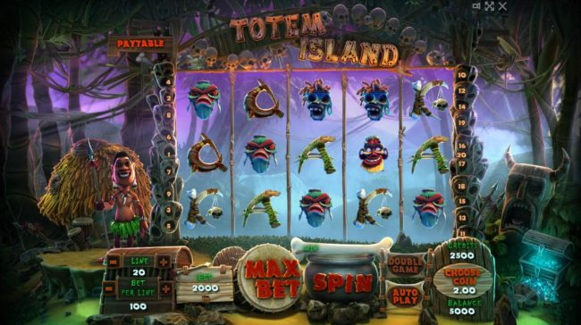 Totem Island :: Main game board featuring five reels and 20 paylines with a $100,000 max payout.