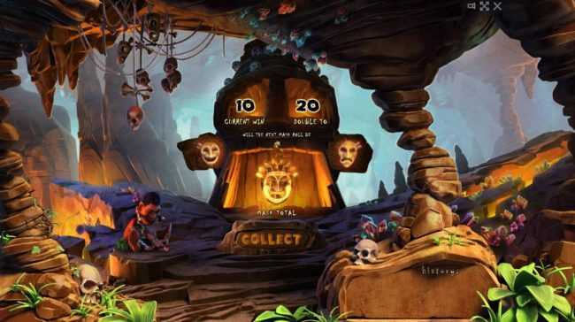 Totem Island :: Double Up Feature - To gamble any win press Gamble then select Happy or Sad Face