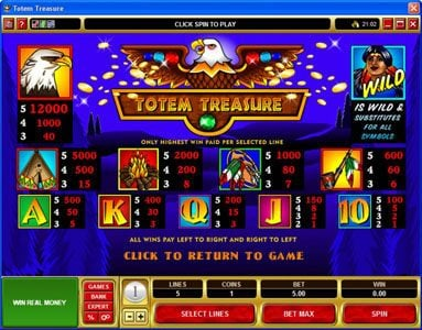 Phoenician featuring the Video Slots Totem Treasure with a maximum payout of $60,000