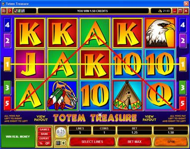 All Slots featuring the Video Slots Totem Treasure with a maximum payout of $60,000