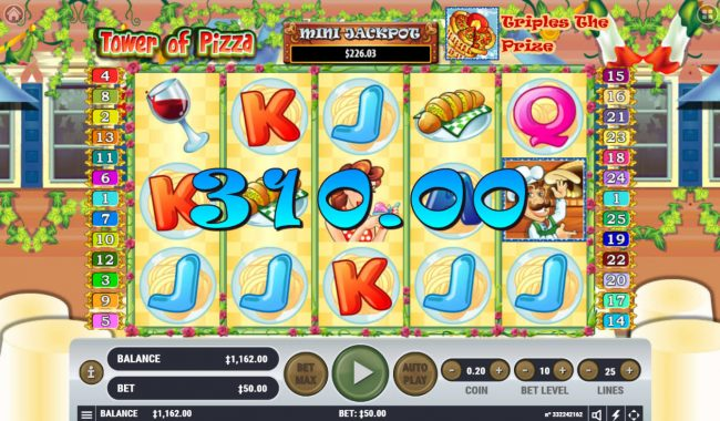 21 Dukes featuring the Video Slots Tower of Pizza with a maximum payout of $2,500,000