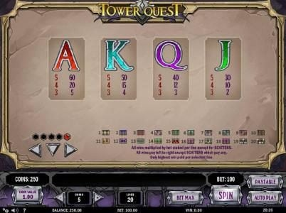 Vera&John featuring the Video Slots Tower Quest with a maximum payout of $2,500
