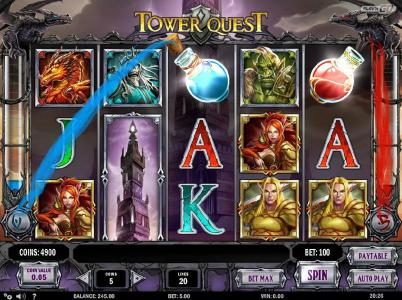 Karamba featuring the Video Slots Tower Quest with a maximum payout of $2,500