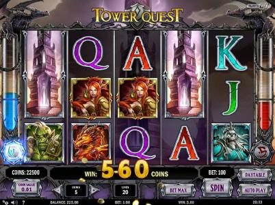 Jellybean Casino featuring the Video Slots Tower Quest with a maximum payout of $2,500