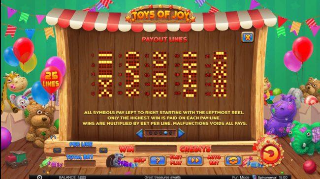 Toys of Joy :: Paylines 1-25
