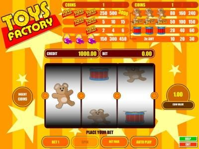 Toys Factory :: main agme board featuring three and a single payline. win up to 3000 coins when you bet max coin