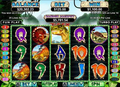 Uptown Aces featuring the Video Slots T-Rex with a maximum payout of $250,000