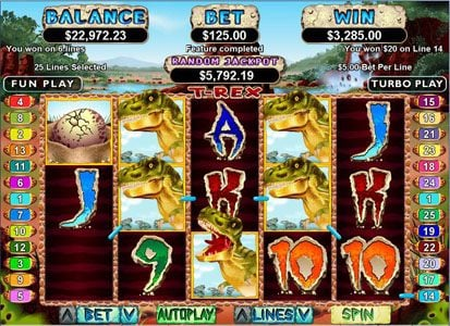 Grande Vegas featuring the Video Slots T-Rex with a maximum payout of $250,000