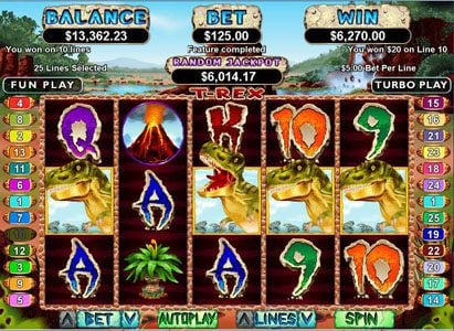 Diamond Reels featuring the Video Slots T-Rex with a maximum payout of $250,000