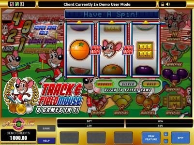 Play slots at Mr Play: Mr Play featuring the Video Slots Track & Field Mouse with a maximum payout of $5,000