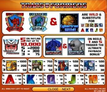 Transformers - Ultimate Payback :: payout table