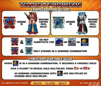 Transformers - Ultimate Payback :: transforming wild and cybertron variable wild payout table