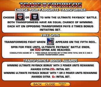 Transformers - Ultimate Payback :: choose your favorite transformer, free spins and bonus awards