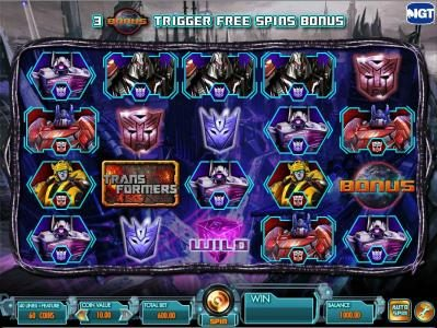 Transformers - Battle for Cybertron  :: main game board featuring five reels and forty lines