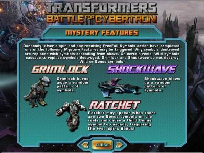 mystery features - grimlock, shockwave and ratchet rules