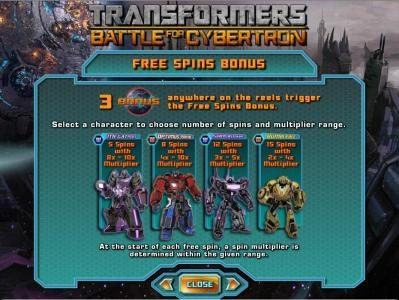 Transformers - Battle for Cybertron  :: free spins bonus rules