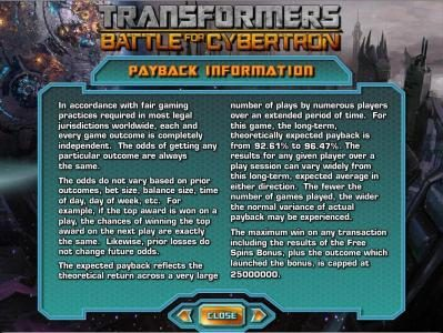 Play slots at Reel Vegas: Reel Vegas featuring the Video Slots Transformers - Battle for Cybertron  with a maximum payout of $250,000