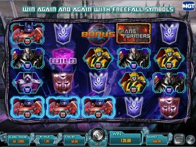 Transformers - Battle for Cybertron  :: three of a kind triggers a $120 payout