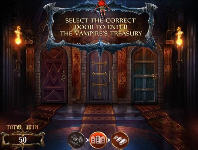 Select the correct door to enter the vampires treasury.
