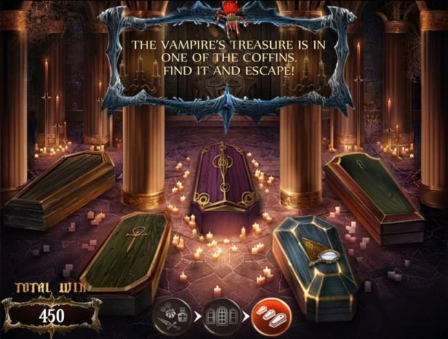 The vampires treasure is in one of the coffins. Find it and escape!