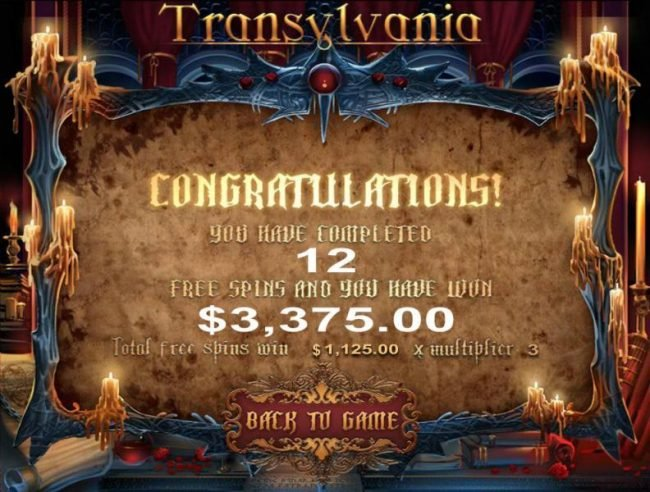 After completing 12 free spins a total of 3,375.00 prize is awarded.