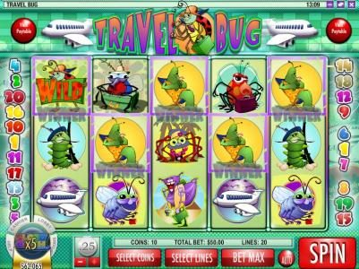 Mayan Fortune featuring the Video Slots Travel Bug with a maximum payout of $12,500