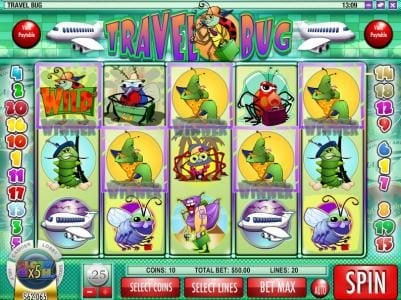 Play slots at Vanguard: Vanguard featuring the Video Slots Travel Bug with a maximum payout of $12,500