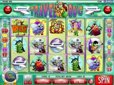 Sahara Sands featuring the Video Slots Travel Bug with a maximum payout of $12,500