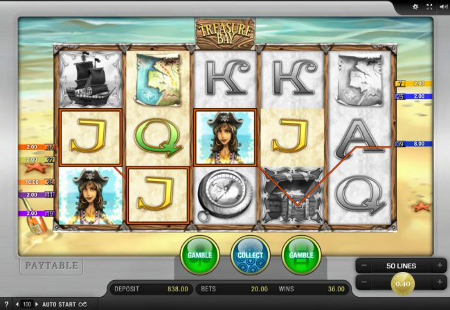 Spinrider featuring the Video Slots Treasure Bay with a maximum payout of $20,000