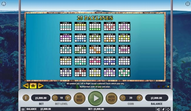 emu Casino featuring the Video Slots Treasure Diver with a maximum payout of $2,500,000