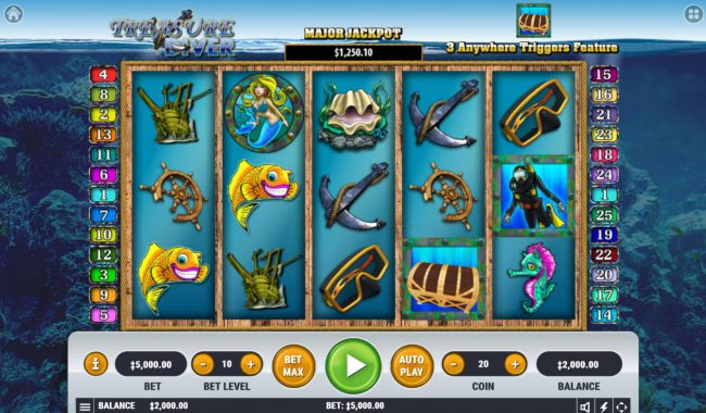 Play slots at Spin Hill: Spin Hill featuring the Video Slots Treasure Diver with a maximum payout of $2,500,000